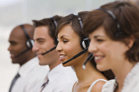 call center agents giving customer service