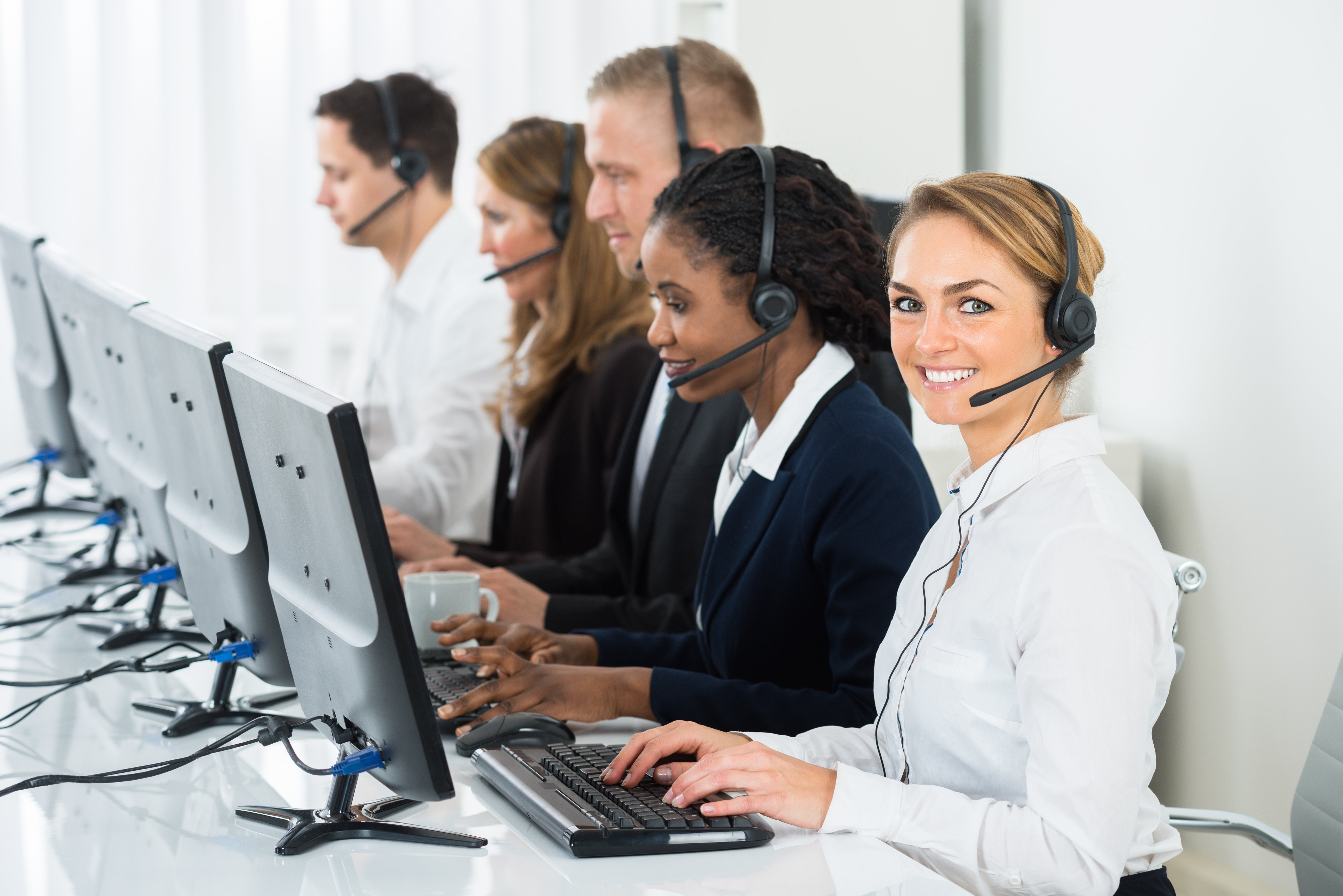Agents providing outbound contact center service